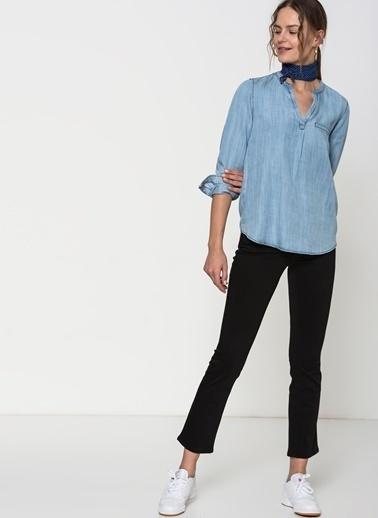 Mavi V Yaka Jean Bluz İndigo